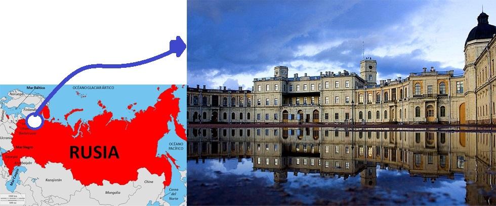 Foto 1: Palacio de Gatchina y el vasto territorio de Rusia