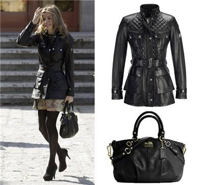 FOTO 3: Leti con chaqueta negra y bolso negro.