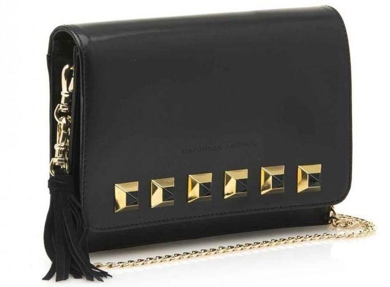 FOTO #20: bolso negro de cadena con detalles geométricos.